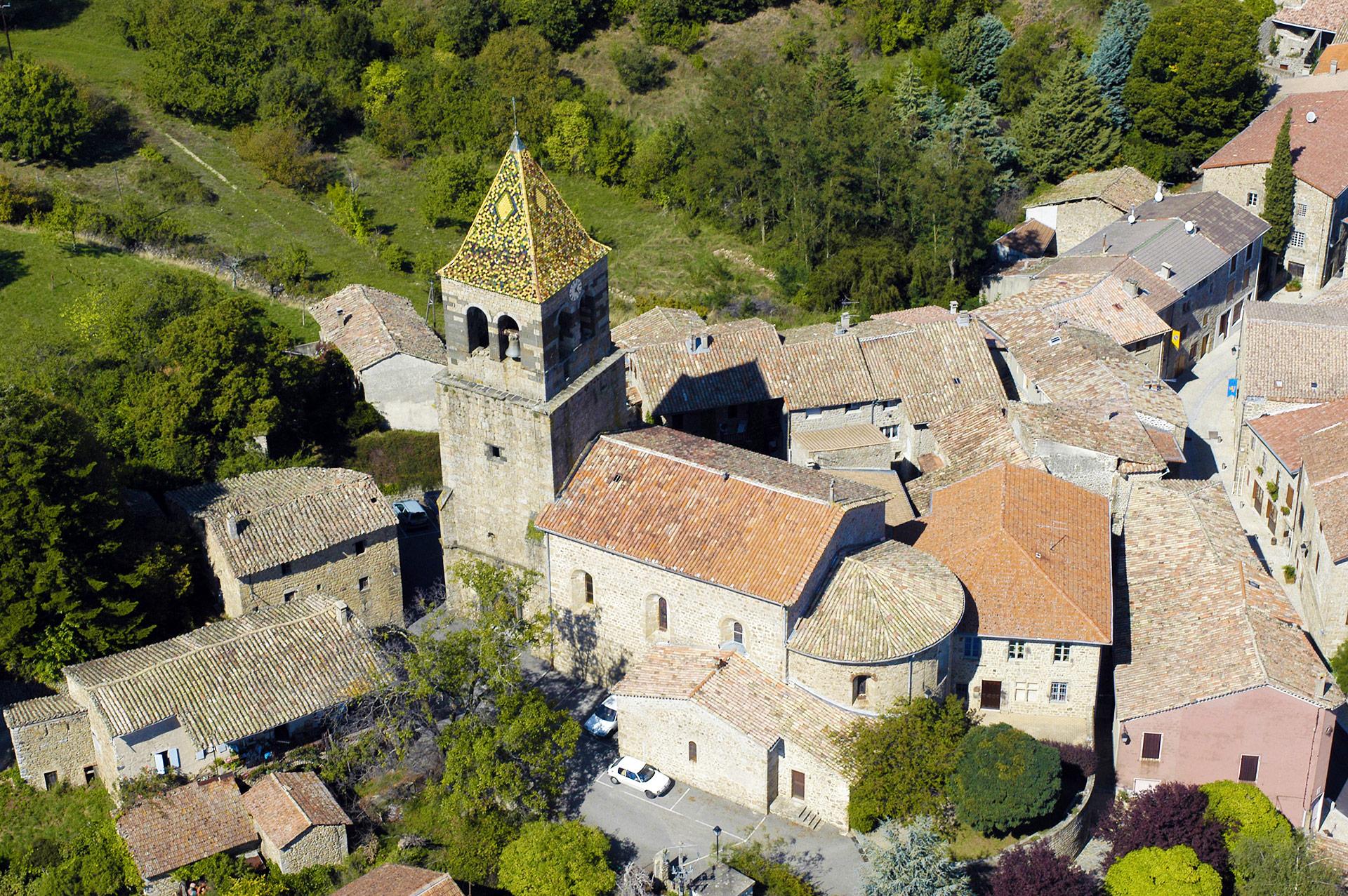 Image érienne village de Meyras - Ardèche